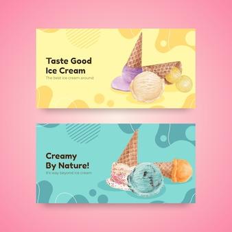Modelo de twitter com conceito de sabor de sorvete, estilo aquarela