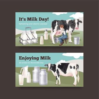 Modelo de twitter com conceito do dia mundial do leite, estilo aquarela