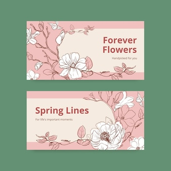 Modelo de twitter com ilustração em aquarela de design de conceito de arte de linha de primavera