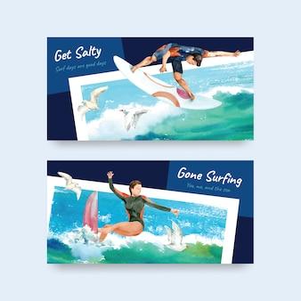 Modelo de twitter com pranchas de surf na praia