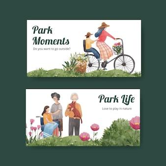 Modelo de twitter com projeto de conceito de parque e família para ilustração em aquarela de mídia social