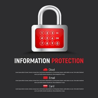 Modelo de um banner da web quadrado preto com um cadeado e um display digital para entrada do código pin. projeto para proteger a nuvem, e-mail e cartões bancários