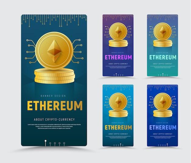 Modelo de um banner vertical da web com uma moeda de ouro da criptomoeda é ethereum em uma pilha.