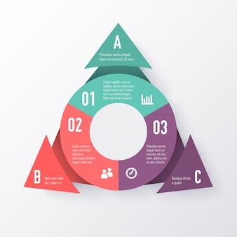 Modelo de um gráfico de pizza com setas do triângulo