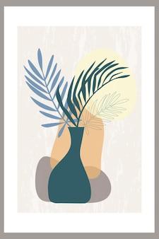 Modelo de uma composição abstrata com folhas de palmeira tropical em um vaso