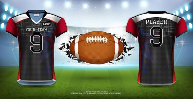 Modelo de uniformes de camisas de futebol.