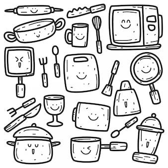 Modelo de utensílios de cozinha kawaii doodle
