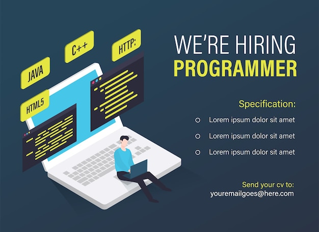 Modelo de vaga de trabalho de programador