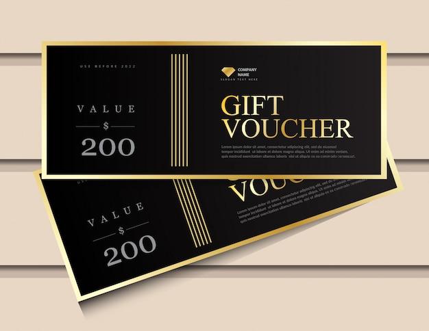 Modelo de vale presente com elementos de luxo glitter dourados.