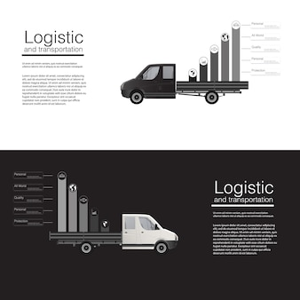 Modelo de van de entrega de banners de conceito logístico. modelo de ilustração abstrata em fundo cinza. .