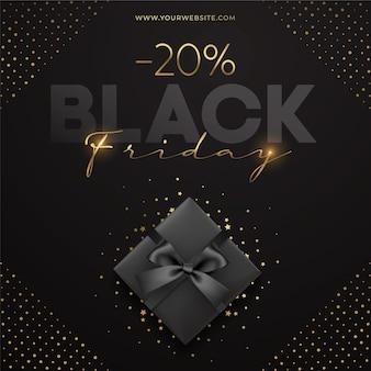 Modelo de venda black friday com caixa de presente preta e glitter dourado