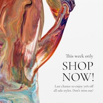 Modelo de venda de arte fluida para anúncio de mídia social