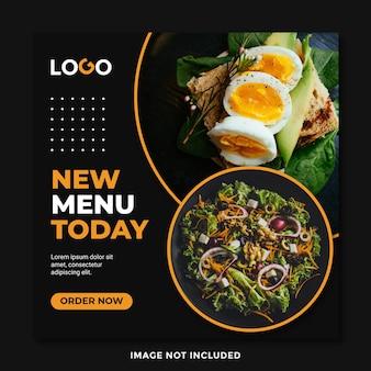 Modelo de venda de banner de comida especial com círculo laranja preto