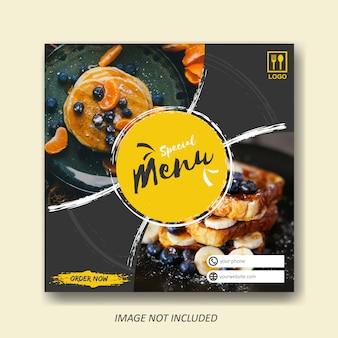 Modelo de venda de comida e culinária para publicação em mídia social