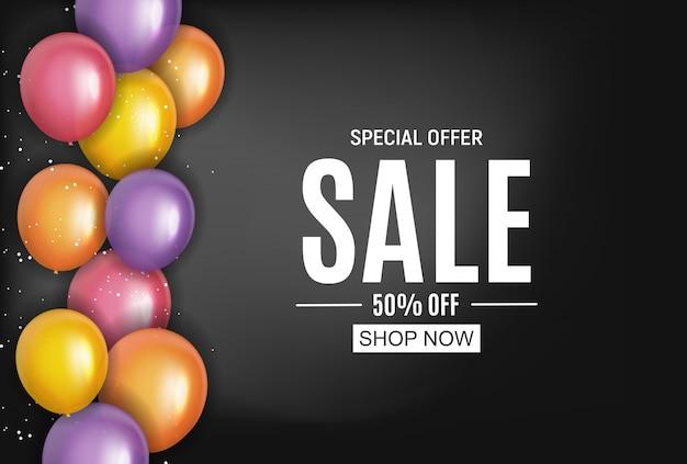 Modelo de venda de desenhos abstratos com balões. ilustração
