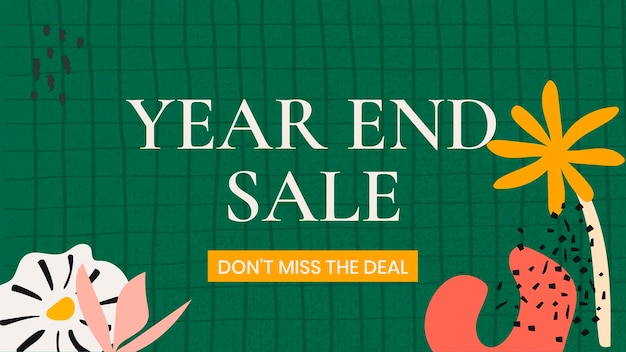 Modelo de venda de final de ano, vetor de design editável