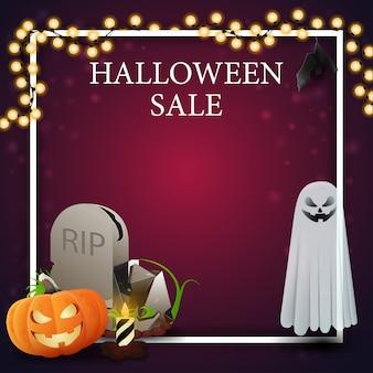 Modelo de venda de halloween para banner de desconto