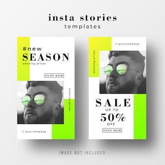 Modelo de venda de histórias do instagram com cores neon