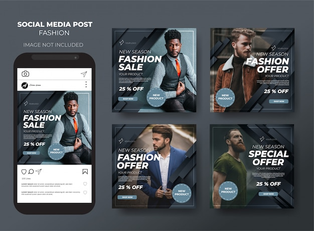 Modelo de venda de mídia social elegante moderna moda negra post feed