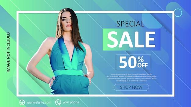 Modelo de venda de moda gradiente para mídias sociais