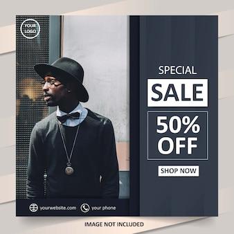Modelo de venda de moda minimalista preto para mídias sociais