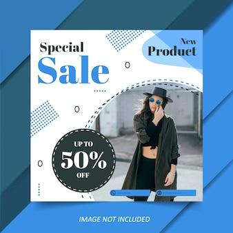 Modelo de venda de moda moderna azul para post de mídia social