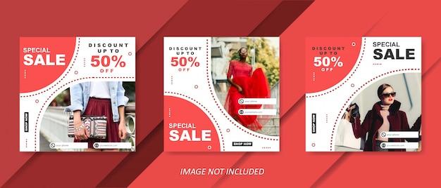 Modelo de venda de moda moderna vermelha para post de mídia social