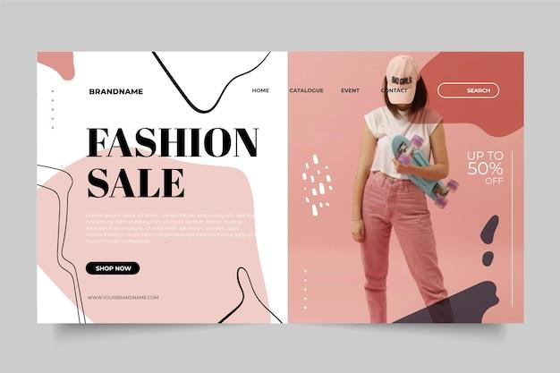 Modelo de venda de moda para a página de destino