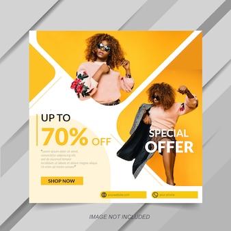 Modelo de venda de moda para post de mídia social