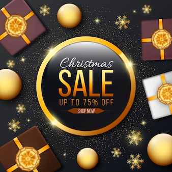 Modelo de venda de natal dourado
