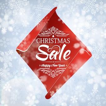 Modelo de venda de natal e feliz ano novo com texto de saudação sobre feliz ano novo e vendas