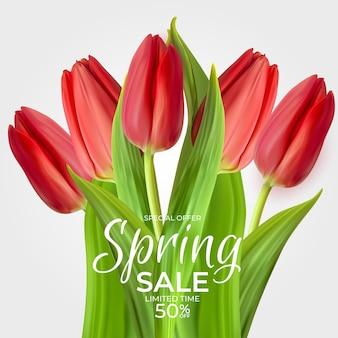 Modelo de venda de primavera com flor de tulipa vermelha realista.
