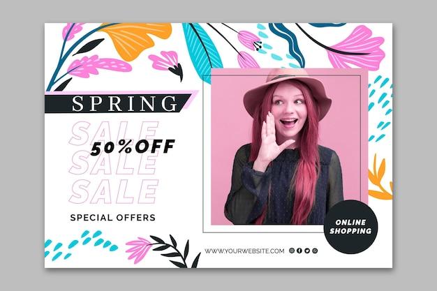 Modelo de venda de primavera de banner de design plano