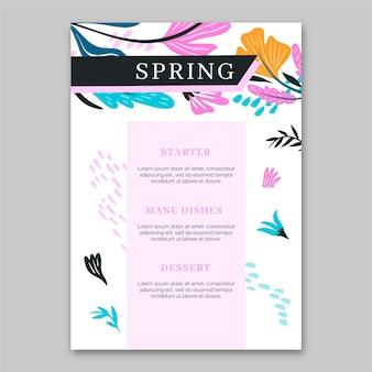Modelo de venda de primavera de menu de design plano