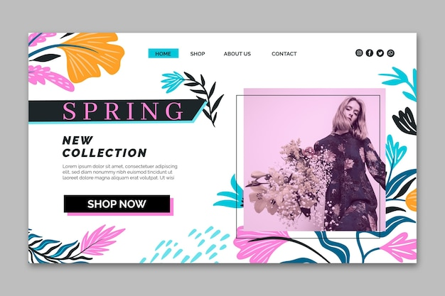 Modelo de venda de primavera de página de destino de design plano