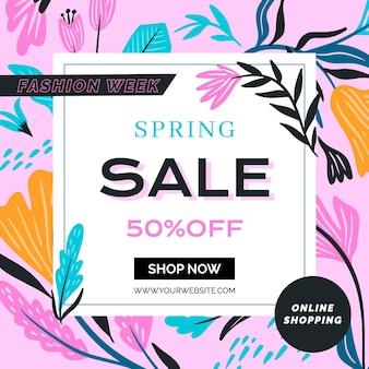 Modelo de venda de primavera de panfleto quadrado de design plano