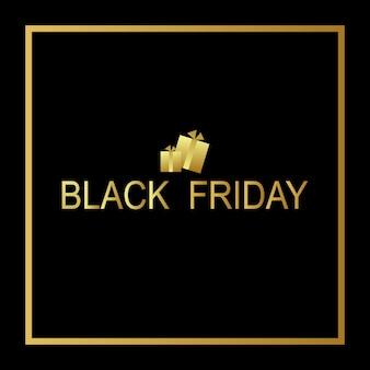 Modelo de venda de sexta-feira negra com caixas de presente de ouro e letras em moldura dourada em fundo preto