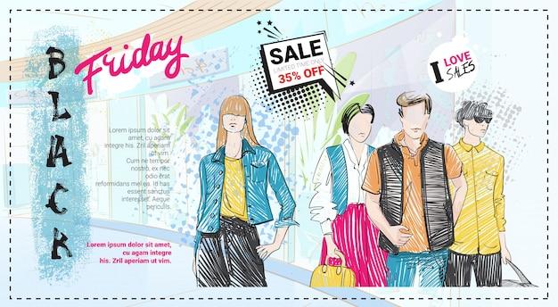Modelo de venda de sexta-feira negra com modelos de moda mão desenhada