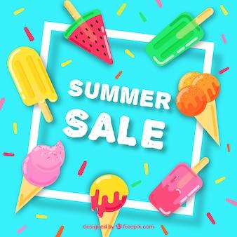 Modelo de venda de verão com deliciosos sorvetes