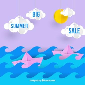 Modelo de venda de verão com o mar e o céu