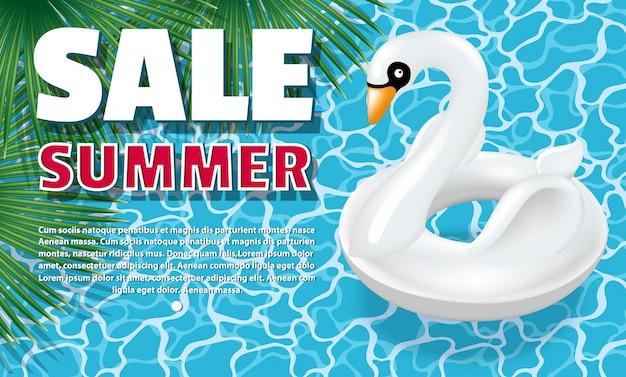 Modelo de venda de verão de banner. círculo inflável - cisne branco