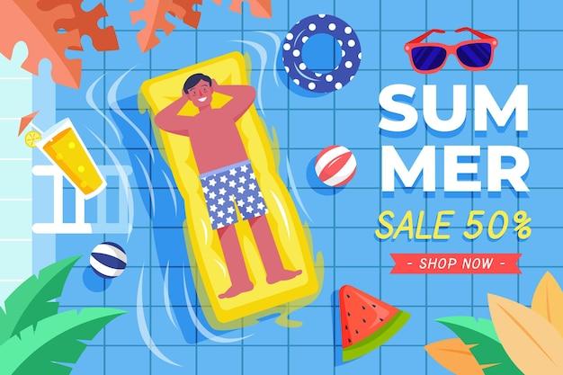 Modelo de venda de verão desenhados à mão