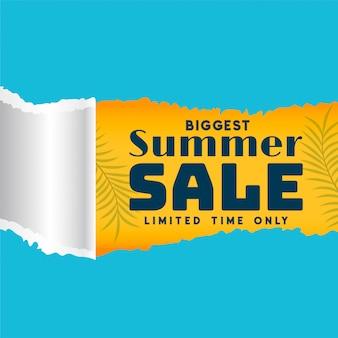 Modelo de venda de verão no banner de estilo de papel rasgado