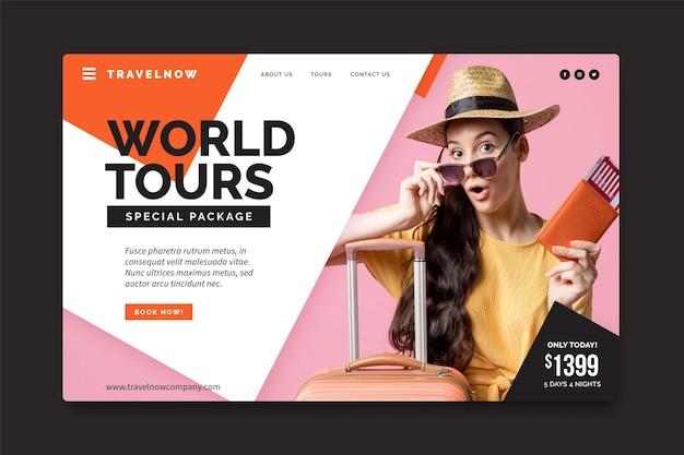 Modelo de venda de viagens para página de destino com foto