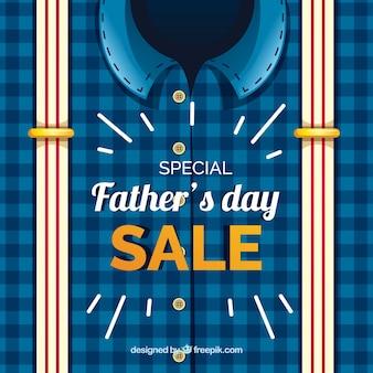 Modelo de venda do dia dos pais com camisa e suspensórios