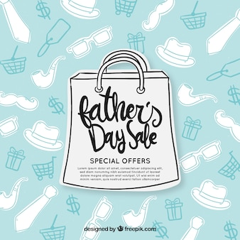 Modelo de venda do dia dos pais com saco de papel e padrão