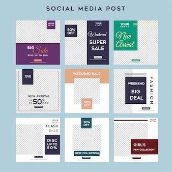 Modelo de venda minimalista de histórias de mídia social