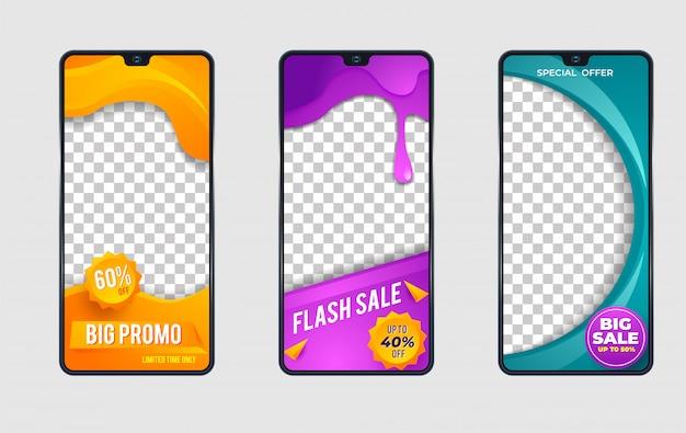 Modelo de venda ondulado para histórias de redes sociais
