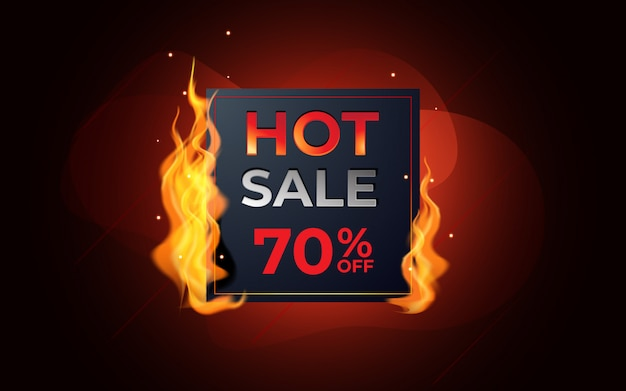 Modelo de venda quente com etiqueta em chamas.