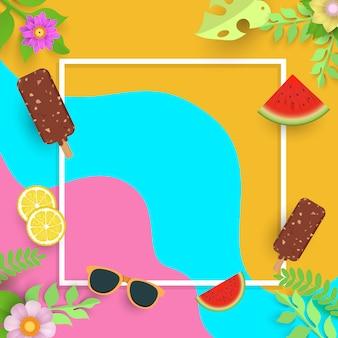 Modelo de verão, banner com sorvete e frutas